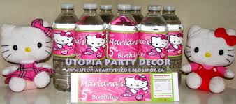 utopia party decor hello kitty water bottle labels