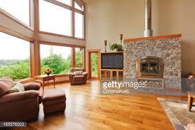 Custom Home Interior With Solid Walnut Wood Floor Stock Photo - Custom home interior