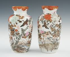 Japanese Flower Vases A Pair Of Japanese Porcelain Sparrow And Flower Vases Early To
