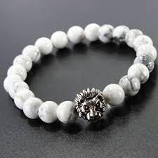 white bead bracelet images White howlite stone beads silver lion head bracelet for men jpg