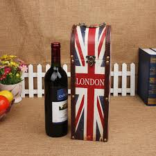 gift packaging for wine bottles fashion flag wine box with handle antique retro union gift
