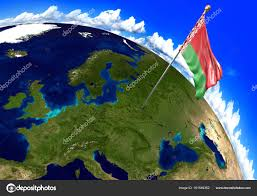 World Map Country Flags Belarus National Flag Marking The Country Location On World Map