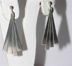 1960 s earrings 1960 s vintage deco style sterling silver fan sun earrings