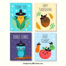 thanksgiving character cards vector free