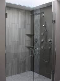 Bathroom Shower Designs Pictures Contemporary Large Format Rectangular Tile Set Vertically In