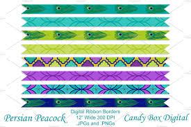 peacock ribbon peacock ribbon borders objects creative market