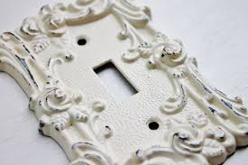 Shabby Chic Light Switch Covers by Vintage Style Metal Wall Decor Light Switch Cover Creamy Ivory