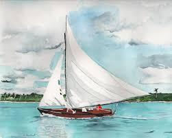 beach artwork watercolor painting print sailboat painting