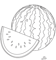 watermelon coloring page fruits coloring pages for kids printable