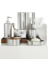 Bella Lux Bathroom Accessories by Hotel Collection Polished Hammered Metal Bath Accessories