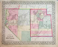 Map Of Counties In Utah by 1870 County Map Of Utah And Nevada