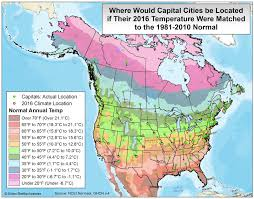 United States Temp Map by Where Would Capital Cities Be Located If Their 2016 Temperature