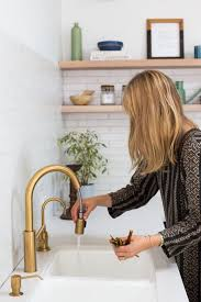 Pre Rinse Kitchen Faucets Antique Single Hole Unlacquered Brass Kitchen Faucet Handle Side