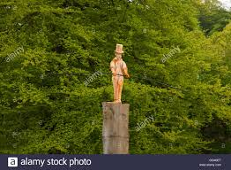 wood carving at rudyard lake derbyshire uk stock photo royalty