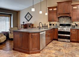 Small Kitchen Design With Peninsula Minnesota Peninsula Kitchen Has Cherry Cabinets In A Traditional