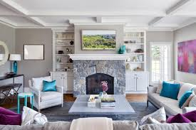 light grey family room furniture set up with white sofa and