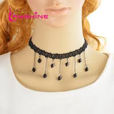 black beaded rope necklace images 2018 gothic style punk tattoo choker stretch necklace black jpg