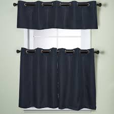Grommet Kitchen Curtains Modern Sublte Textured Solid Navy Blue Kitchen Curtains With
