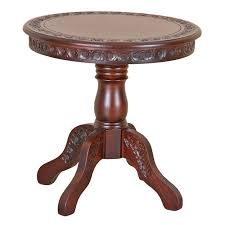 carved wood end table hand carved wood end table with a pedestal base and floral detail