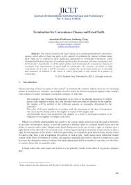 Commercial Lease Termination Agreement Termination For Convenience Clauses And Good Faith Pdf Download