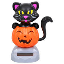 amazon com solar powered dancing halloween black cat with pumpkin