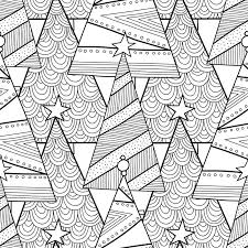 black white pattern christmas trees coloring book
