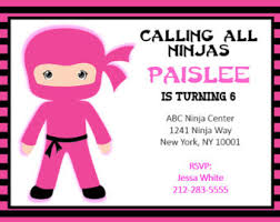 ninja birthday invitation gymnastic parkour invite