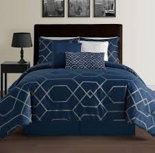 Nautica Down Alternative Comforter Hampton Navy Blue Queen Size Bed 7pc Jacquard Grey Geometric Mod