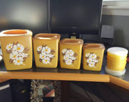 yellow kitchen canisters floral canisters etsy