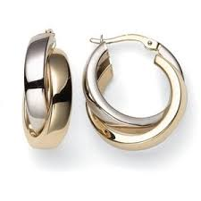 white gold hoop earrings duragold 14k yellow and white gold crossover hoop earrings r