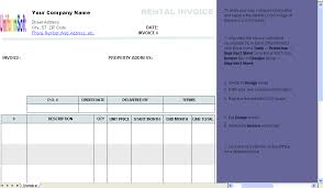 Rental Receipt Template Excel Rental Invoice Template Invoice Software