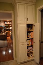 Kitchen Pantry Storage Cabinets F White Wooden Narrow Pantry Cabinet With Maple Wood Shelves