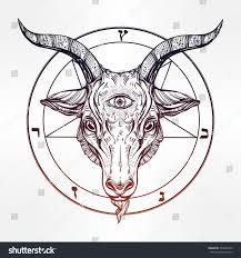 pentagram demon baphomet satanic goat head stock vector 533043433