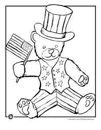 stars and stripes bear 4th of july coloring page animal jr
