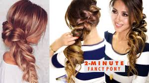 2 minute fancy pony braid hairstyle easy hairstyles