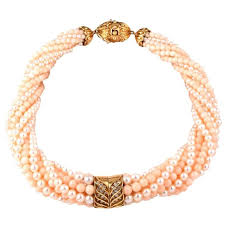 choker necklace beads images Coral beads pearl diamond gold choker necklace for sale at 1stdibs jpg
