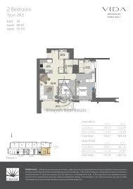 residences dubai mall 2 bed type 2b e floor plan