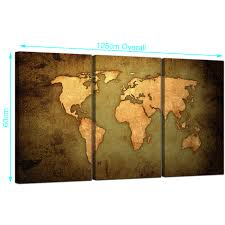World Map Prints by Vintage World Map Canvas Art Set Of Three For Your Study