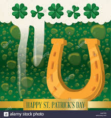 happy st patricks day horseshoe green beer bubbles vector stock