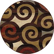 Gold Rugs Contemporary Universal Rugs Contemporary Scroll 5 Ft 3 In Round Area Rug
