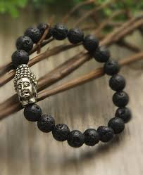 bead bracelet with charm images Buddha bracelet with lava beads for men and women jpg