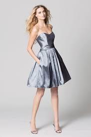 charcoal taffeta strapless a line knee length bridesmaid dress