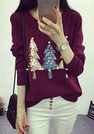 burgundy sparkly sequin tree print beading pullover