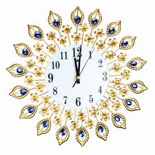 diamond large wall clocks metal digital needle wall clock