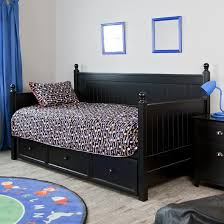 furniture black stained wooden trundle day bed with straight