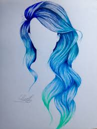 blue mermaid ombré hair drawing was so much fun to draw my