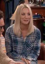 pennys hair on big bang theory wornontv penny s blue plaid shirt on the big bang theory kaley