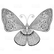 intricate detailed butterfly grown up coloring page stress