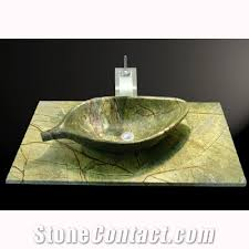 stone bathroom sink basin rainforest green marble from india