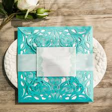 teal wedding invitations teal lace design laser cut wedding invitations ewws112 as low as